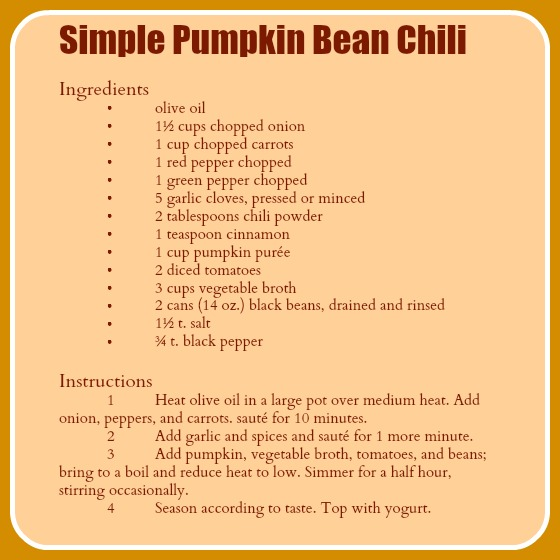 pumpkin bean chili